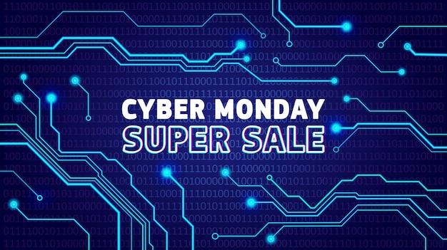 Affiche de vente cyber lundi, bunner, invitation avec impulsions électriques. conception de publicité de vente en ligne, annonce.
