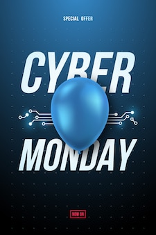 Affiche de vente cyber monday avec ballon bleu brillant et texte.