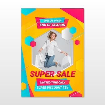 Affiche de vente dégradée avec photo