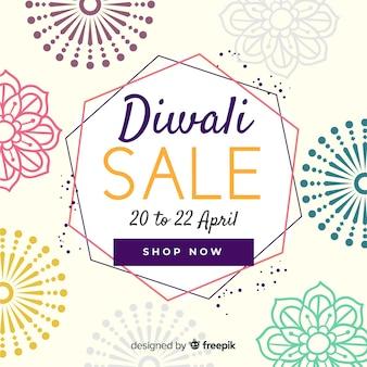 Affiche de vente diwali dessinée à la main