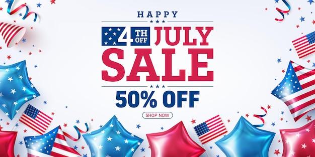 Affiche de vente du 4 juilletcélébration de la fête de l'indépendance des états-unis avec de nombreux drapeaux de ballons américainsmodèle de bannière publicitaire de promotion des états-unis du 4 juillet pour brochuresposter ou banner