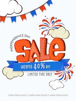Affiche de vente du jour de l'indépendance des usa
