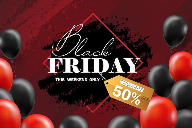 Affiche de vente du vendredi noir avec des ballons noirs pour la vente au détail, le shopping ou le style de promotion du vendredi noir