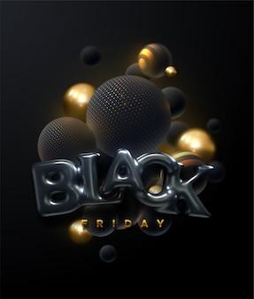 Affiche de vente du vendredi noir avec des éléments abstraits, noir et or, vecteur eps10