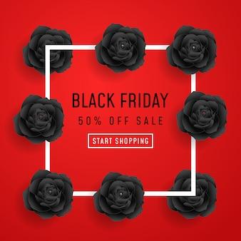 Affiche de vente du vendredi noir avec des roses noires sur fond rouge avec cadre carré. illustration.