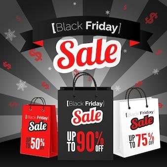 Affiche de vente du vendredi noir avec sac à provisions et ruban