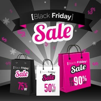 Affiche de vente du vendredi noir avec sacs à provisions et ruban