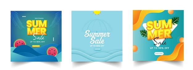 Affiche de vente d'été ou conception de modèle avec une offre de remise de 50 en trois options.