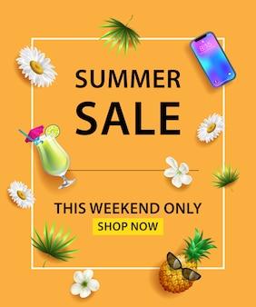 Affiche de vente d'été. smartphone, cocktail, ananas, fleur et feuilles