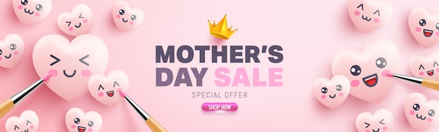 Affiche de vente de la fête des mères avec des coeurs mignons et des émoticônes de dessin animé sur fond rose.promotion et modèle de magasinage ou arrière-plan pour l'amour et le concept de la fête des mères