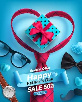 Affiche de vente de fête des pères en forme de coeur et cravate sur bleu