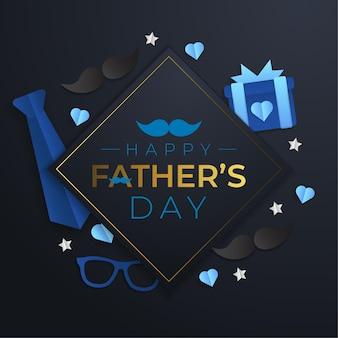 Affiche de vente de fête des pères avec des lunettes, une cravate et des cadeaux