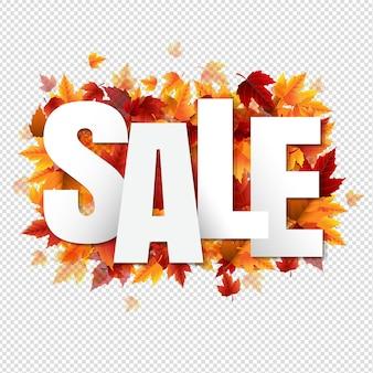 Affiche de vente avec des feuilles d & # 39; automne colorées sur fond transparent