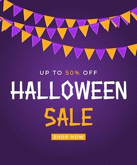 Affiche de vente halloween avec drapeaux et guirlande sur fond violet. illustration vectorielle eps10