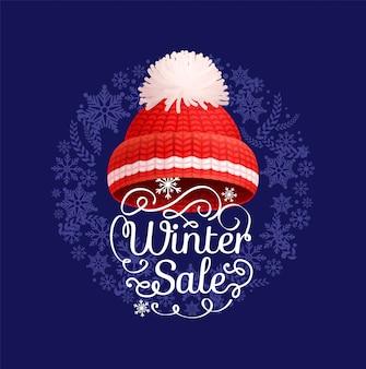 Affiche de vente d'hiver, bonnet rouge tricoté, icône