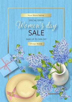 Affiche de vente de la journée des femmes. 8 mars avec des fleurs