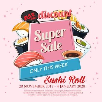 Affiche de vente de marché de sushi