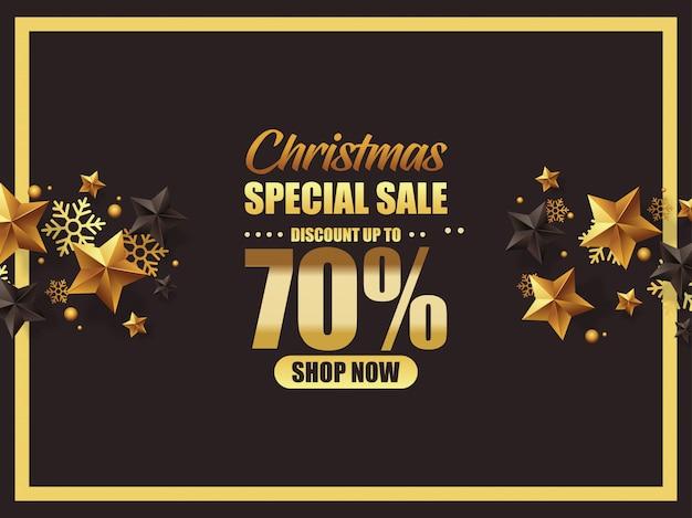 Affiche de vente de noel de luxe avec étoiles dorées et noires