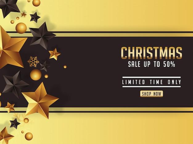 Affiche de vente de noël de luxe avec des étoiles dorées