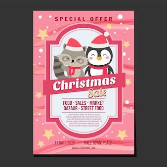 Affiche de vente de noël, texture neige et étoiles, pingouin et renard