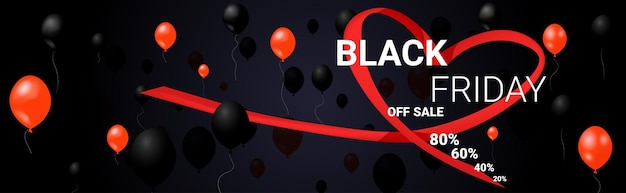 Affiche de vente d'offre spéciale de vendredi noir avec des ballons à air shopping flyer promotion de vacances concept de remise de prix chaud illustration vectorielle horizontale