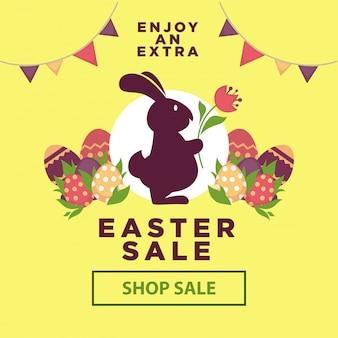 Affiche de vente de pâques pour les achats en ligne