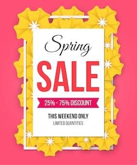 Affiche de vente de printemps avec de belles fleurs en papier jaune