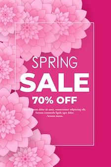 Affiche de vente de printemps avec de belles fleurs roses en papier