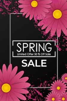 Affiche de vente de printemps avec de belles fleurs violettes