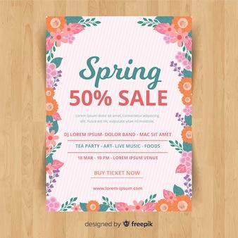 Affiche de vente printemps cadre floral