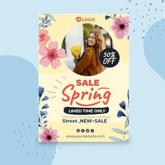 Affiche de vente de printemps plat a4