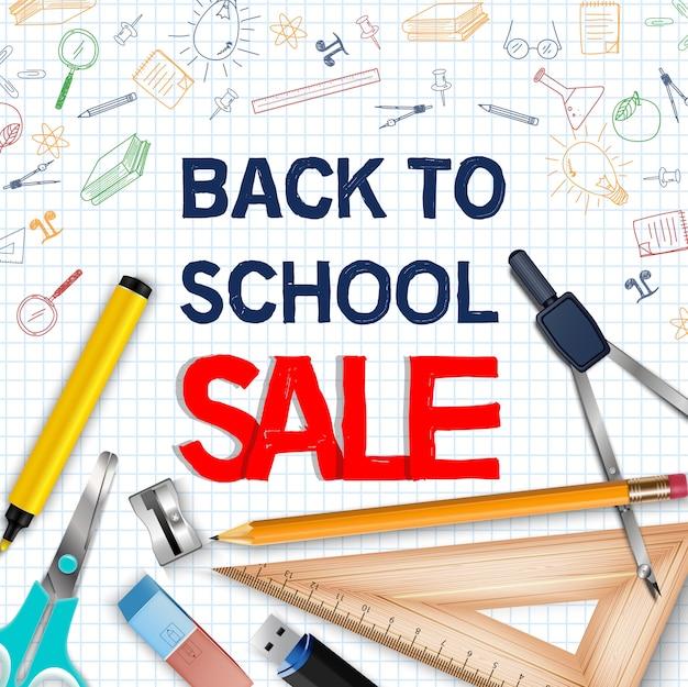 Affiche de vente de retour à l'école avec des fournitures scolaires réalistes