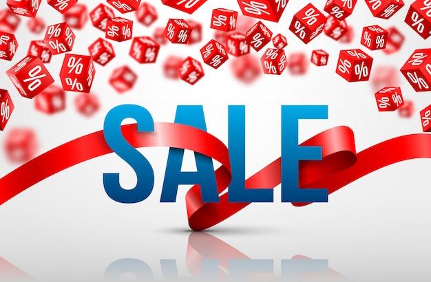 Affiche de vente avec ruban rouge et vente de pourcentage de réduction de vente de cube rouge