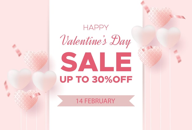 Affiche de vente de la saint-valentin ou bannière avec des confettis, coeur doux