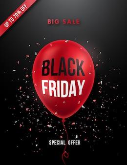 Affiche de vente vendredi noir avec ballon rouge réaliste.