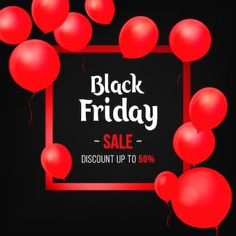 Affiche de vente de vendredi noir avec des ballons brillants sur fond noir avec cadre carré. illustration vectorielle