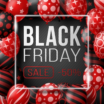 Affiche de vente vendredi noir avec des ballons brillants sur fond noir avec cadre carré en verre. illustration.