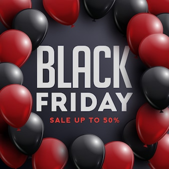 Affiche de vente vendredi noir avec des ballons brillants sur fond noir avec cadre.