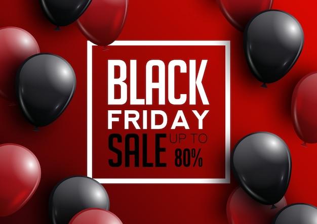 Affiche de vente vendredi noir avec des ballons brillants sur fond rouge avec cadre.