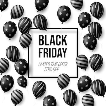 Affiche de vente vendredi noir avec des ballons brillants