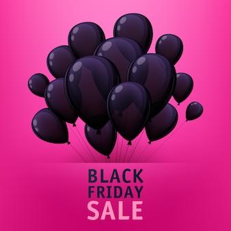 Affiche de vente vendredi noir avec des ballons noirs.
