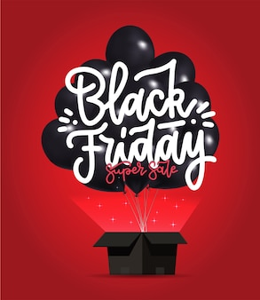 Affiche de vente vendredi noir avec bouquet de ballons brillants foncés volant d'une boîte noire ouverte.