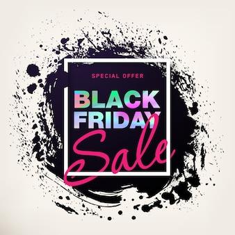 Affiche de vente vendredi noir avec effet holographique. bannière de remise de vente.