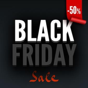 Affiche de vente vendredi noir avec étiquette rouge illustration vectorielle