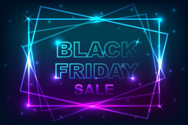 Affiche de vente vendredi noir avec fond de bannière au néon.