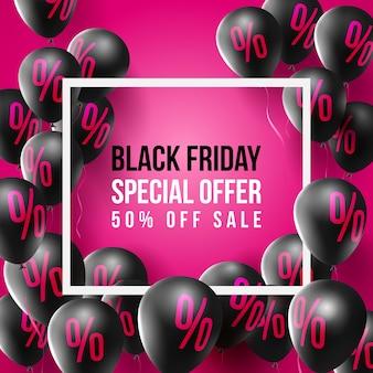 Affiche de vente vendredi noir par ballons avec signe de pourcentage, signe de remise et lettre majuscule