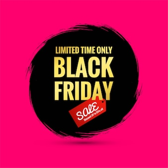 Affiche de vente vendredi noir sur un pinceau splash dessiné à la main