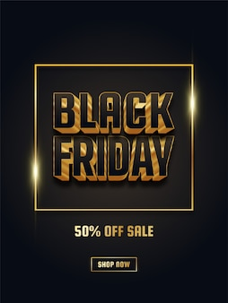 Affiche de vente vendredi noir avec texte 3d noir et or
