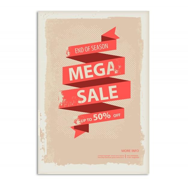 Affiche de vente vintage, flyer avec bannière de ruban