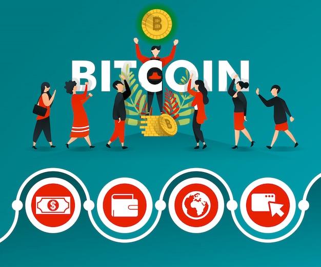 Affiche verte de promotion de bitcoin